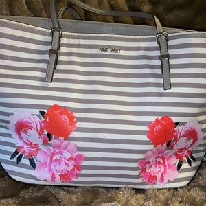 Nine West Grey/White striped Tote
